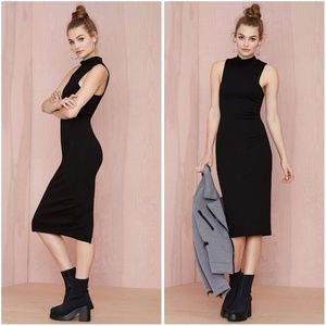Nasty Gal Mock Off Black Bodycon Midi Dress